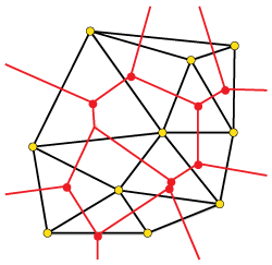 Fig 4. DT (black) / VD (red) equivalence for the set of yellow points