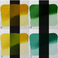 Various synthetic pigments generated using the Kubelka Munk theory and the heuristic proposed in [Watercolor]